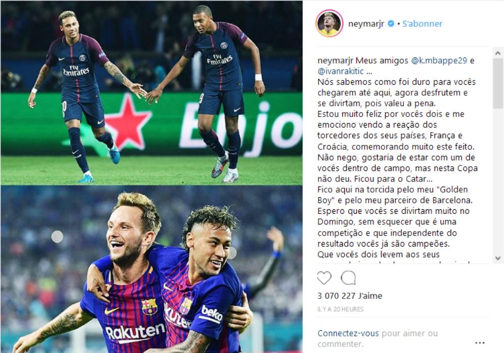 Coupe du monde le très beau message d'encouragement de Neymar à Mbappé et Rakitic